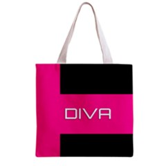Diva Hot Pink All Over Print Grocery Tote Bag