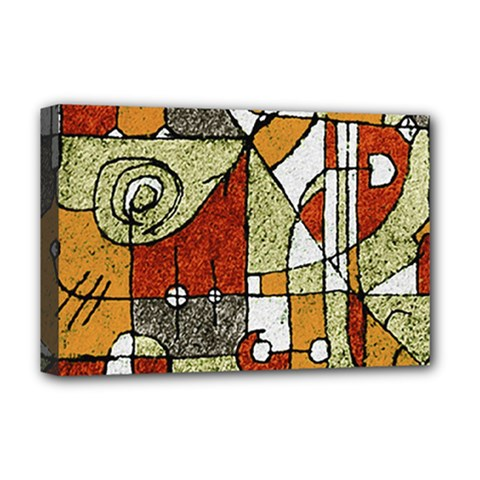 Multicolored Abstract Tribal Print Deluxe Canvas 18  X 12  (framed)