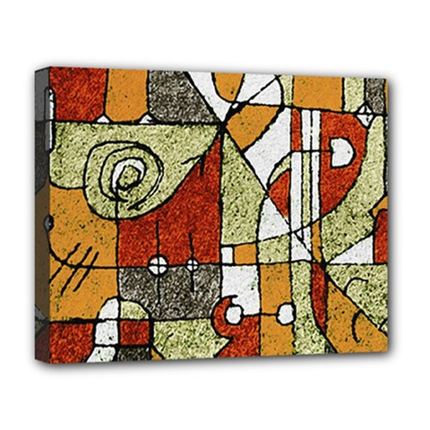 Multicolored Abstract Tribal Print Deluxe Canvas 20  X 16  (framed)