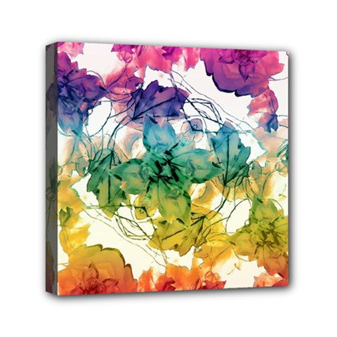 Multicolored Floral Swirls Decorative Design Mini Canvas 6  X 6  (framed)