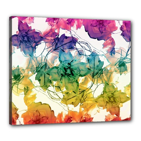 Multicolored Floral Swirls Decorative Design Canvas 24  x 20  (Framed)