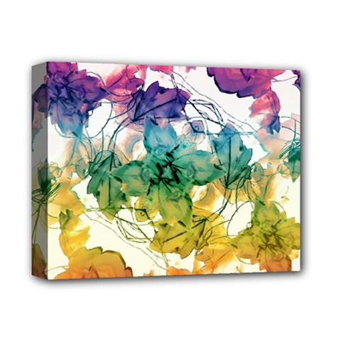 Multicolored Floral Swirls Decorative Design Deluxe Canvas 14  X 11  (framed)