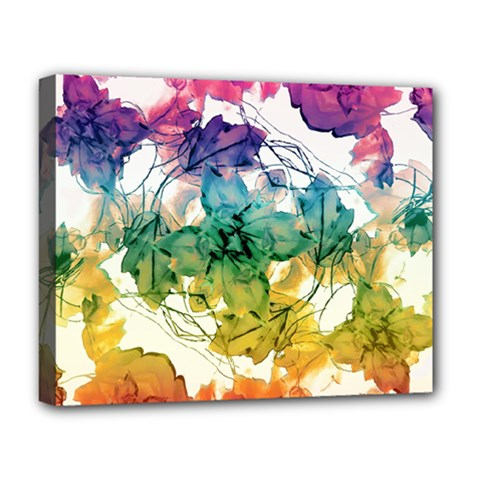 Multicolored Floral Swirls Decorative Design Deluxe Canvas 20  X 16  (framed)