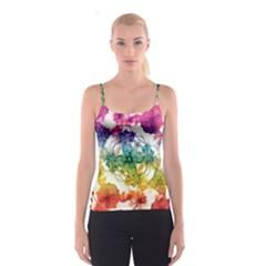Multicolored Floral Swirls Decorative Design All Over Print Spaghetti Strap Top