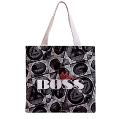 Like A Boss Blk&wht All Over Print Grocery Tote Bag
