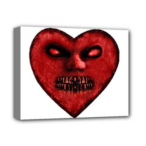 Evil Heart Shaped Dark Monster  Deluxe Canvas 14  X 11  (framed)
