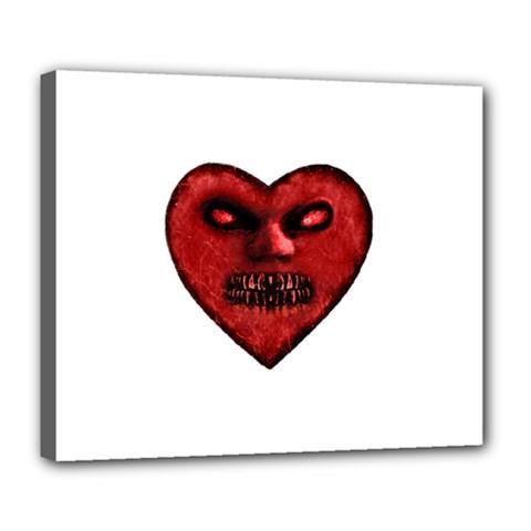 Evil Heart Shaped Dark Monster  Deluxe Canvas 24  x 20  (Framed)