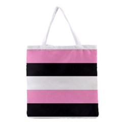 Black, Pink And White Stripes  By Celeste Khoncepts Com 20x28 All Over Print Grocery Tote Bag