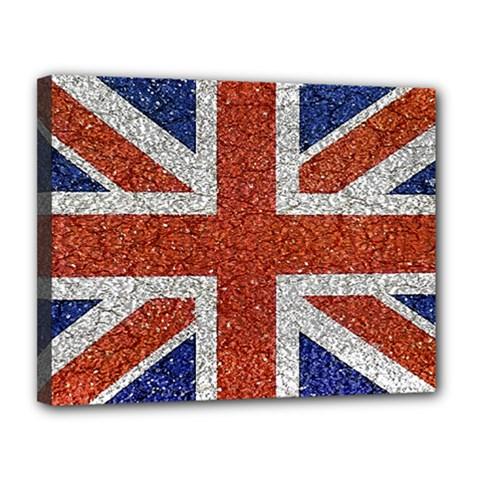 England Flag Grunge Style Print Canvas 14  x 11  (Framed)