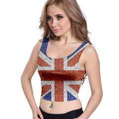 England Flag Grunge Style Print All Over Print Crop Top