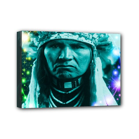 Magical Indian Chief Mini Canvas 7  X 5  (framed)