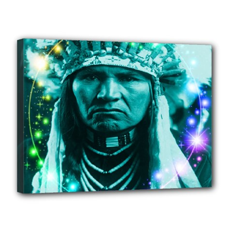 Magical Indian Chief Canvas 16  X 12  (framed)