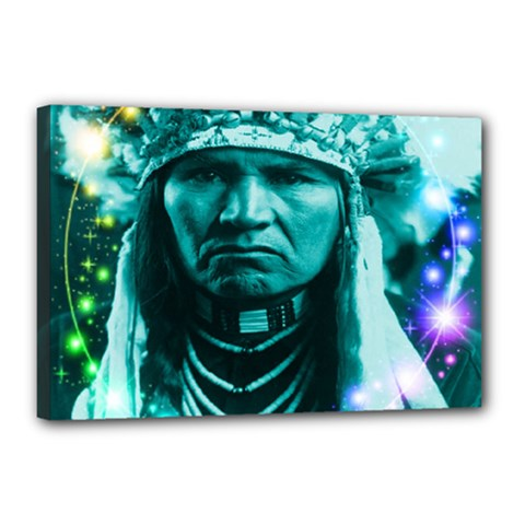 Magical Indian Chief Canvas 18  X 12  (framed)