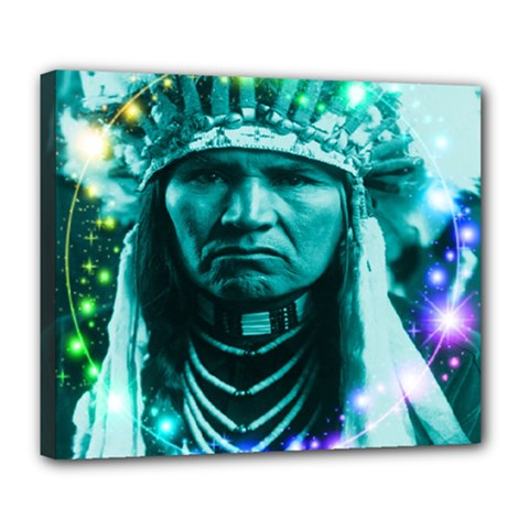 Magical Indian Chief Deluxe Canvas 24  x 20  (Framed)