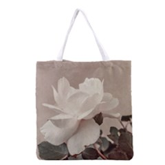 White Rose Vintage Style Photo In Ocher Colors All Over Print Grocery Tote Bag