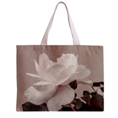White Rose Vintage Style Photo in Ocher Colors All Over Print Tiny Tote Bag