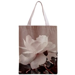 White Rose Vintage Style Photo in Ocher Colors All Over Print Classic Tote Bag