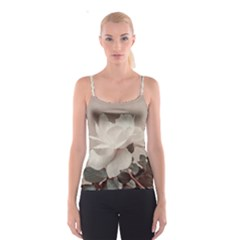White Rose Vintage Style Photo In Ocher Colors All Over Print Spaghetti Strap Top