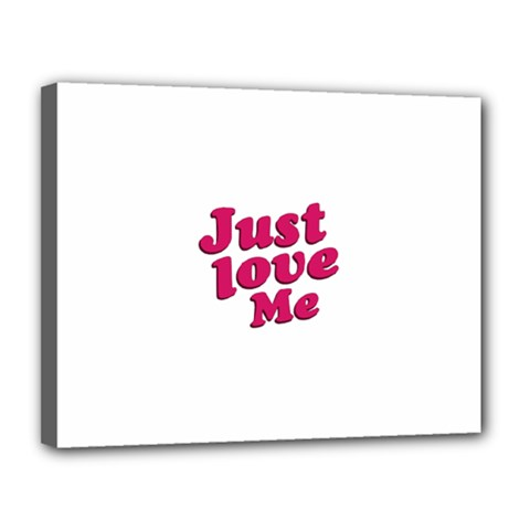 Just Love Me Text Typographic Quote Canvas 14  X 11  (framed)