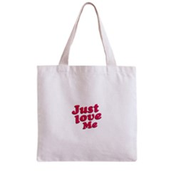 Just Love Me Text Typographic Quote All Over Print Grocery Tote Bag
