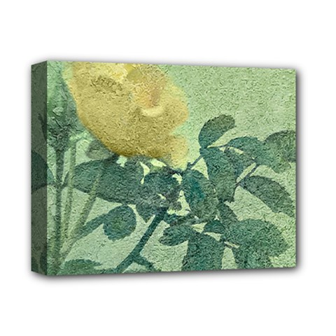 Yellow Rose Vintage Style  Deluxe Canvas 14  X 11  (framed)