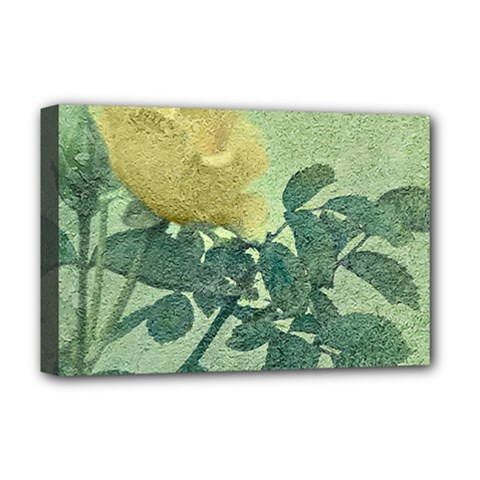 Yellow Rose Vintage Style  Deluxe Canvas 18  X 12  (framed)