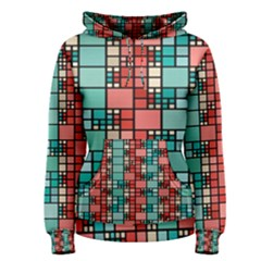 Red and green squares  pattern hoodie Women s Hoodie