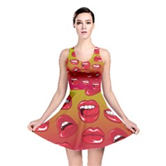 Hot Lips All Over Print Reversible Skater Dress