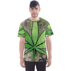 Weed Leaf All Over Print Sport T Shirt (men)