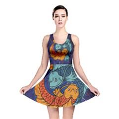 Koi Fish All Over Print Reversible Skater Dress