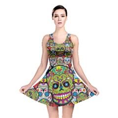 Sugar Skulls All Over Print Reversible Skater Dress