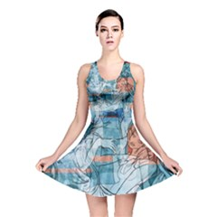 Retro Girls All Over Print Reversible Skater Dress