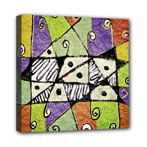 Multicolored Tribal Print Abstract Art Mini Canvas 8  X 8  (framed)