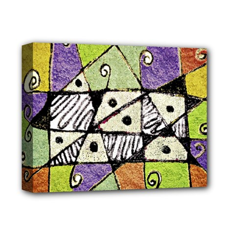 Multicolored Tribal Print Abstract Art Deluxe Canvas 14  X 11  (framed)