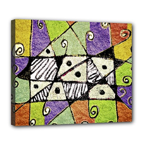 Multicolored Tribal Print Abstract Art Deluxe Canvas 24  X 20  (framed)