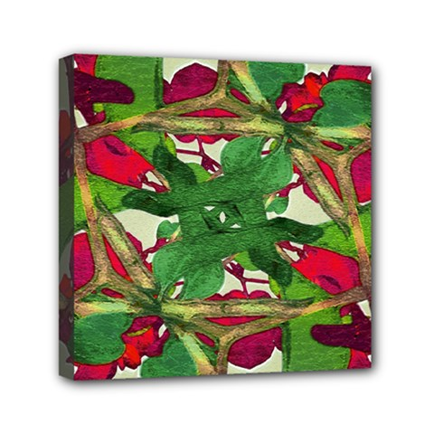 Floral Print Colorful Pattern Mini Canvas 6  X 6  (framed)