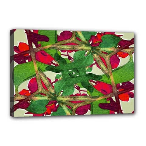 Floral Print Colorful Pattern Canvas 18  X 12  (framed)