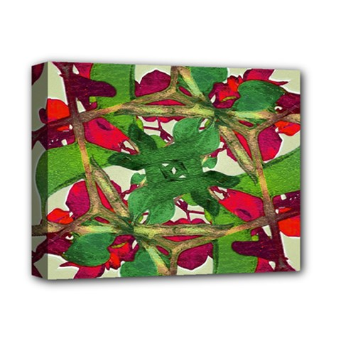 Floral Print Colorful Pattern Deluxe Canvas 14  X 11  (framed)