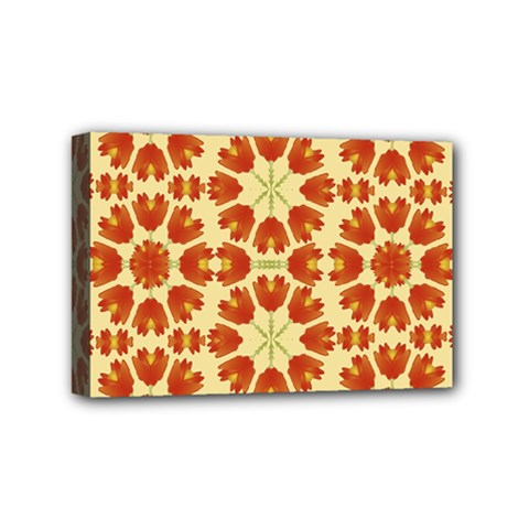 Colorful Floral Print Vector Style Mini Canvas 6  X 4  (framed)