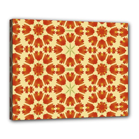 Colorful Floral Print Vector Style Canvas 20  X 16  (framed)