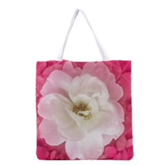 White Rose with Pink Leaves Around  All Over Print Grocery Tote Bag