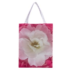 White Rose with Pink Leaves Around  All Over Print Classic Tote Bag