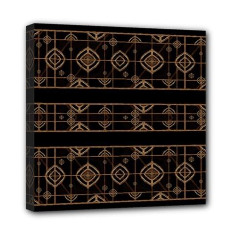 Dark Geometric Abstract Pattern Mini Canvas 8  X 8  (framed)