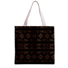 Dark Geometric Abstract Pattern All Over Print Grocery Tote Bag