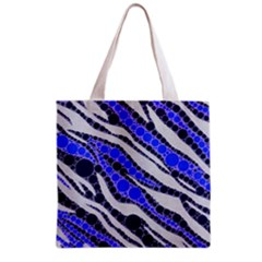 Blue Zebra Bling  All Over Print Grocery Tote Bag