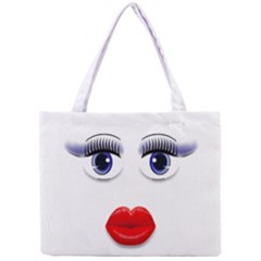 Face With Blue Eyes All Over Print Tiny Tote Bag