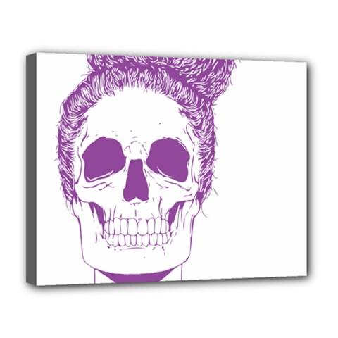 Purple Skull Bun Up Canvas 14  X 11  (framed)