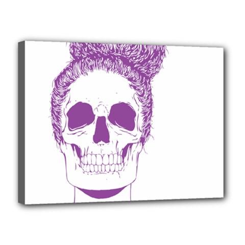 Purple Skull Bun Up Canvas 16  X 12  (framed)