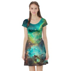 Green Galaxy Short Sleeved Skater Dress