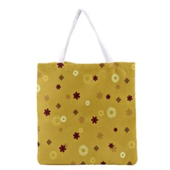 Abstract Geometric Shapes Design in Warm Tones Grocery Tote Bag
